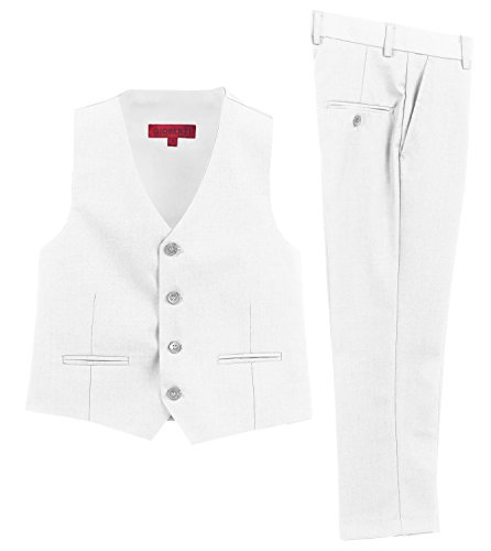 Price comparison product image Gioberti 2 Piece Kids Boys White Vest and Pants Formal Set,  3T