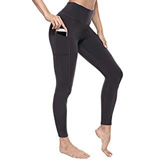 Eunchaes High Waist Yoga Pants with Pockets Ultra Soft Workout Pants for Women Tummy Control Yoga Leggings (Grey, Medium)