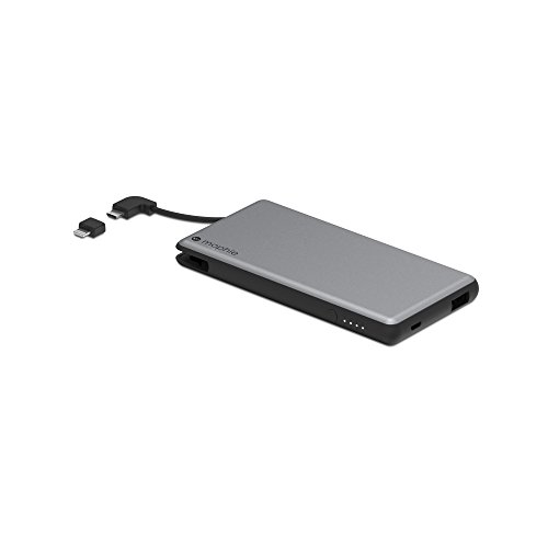 mophie powerstation Plus External Battery with Built in Cables for Smartphones and Tablets (6,000mAh) - Space Grey
