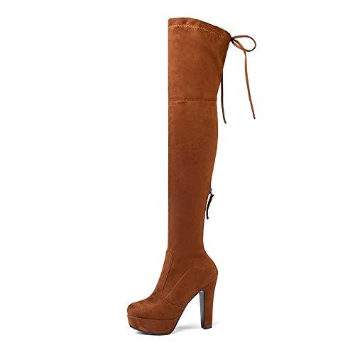 Mujer Rodilla 43 Altos Alto Sobre Lace Plartorm Plataforma Hoesczs Botas 2019 Mantener De Size34 Invierno Orange Squae Mujeres Up Zapatos Caliente Tacón La xwCSC8qH