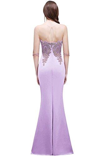 Abendkleid Applikation Satin Damen mit Arm Partykleider Abendkleid Ballkleider 3 Lavender Elegant nbsp;2017 MisShow lang Rot 4 aORqY