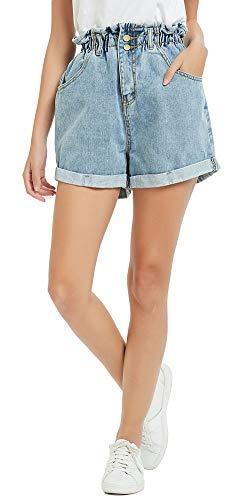 Plaid&Plain Women's High Waisted Denim Shorts Rolled Blue Jean Shorts Stone Wash Blue M