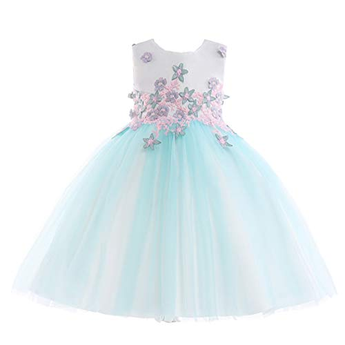 JIANLANPTT Pretty Flower Appliques Toddler Girls Pageant Wedding Princess Formal Party Dress 5-6Years Crystal Mint ()