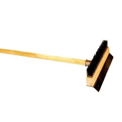 Long Wood Handle Pizza Oven Wire Brush with Scraper 37