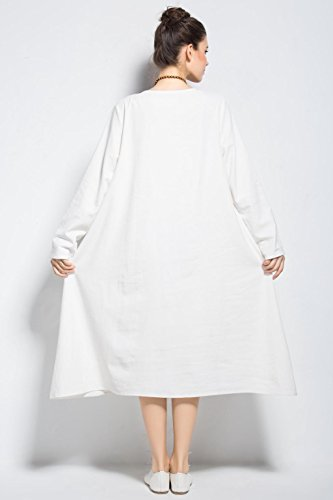 Y187 Size Fall A Linen amp;cotton Clothing Spring Loose Vogue Plus Anysize Dress vwa8xnq