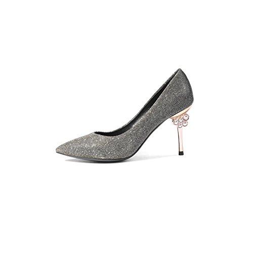 8 Cómodo Sandalias CN38 673 tacón 5 Color Alto DALL Primavera De Y Mujer De de 5cm Zapatos EU Apuntado Verano Zapatos Tamaño Ly 38 La Azul Cabeza UK5 Plata Tacones Y Estable 6qqXUw