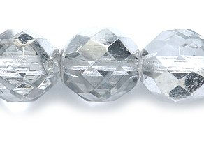 10mm Polished Glass Bead, Faceted Round, Half Coat Silver, 50-Pack ()