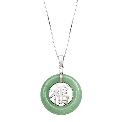 Sterling Silver Natural Green Jade Good Luck Pendant Necklace,18
