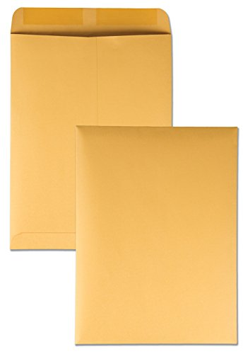 Quality Park 41465 Quality Park Catalog Envelopes, Heavyweight/Gummed, 9x12, 28lb, Kraft, 250/Box