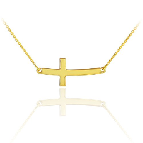 14k Gold Curved Sideways Cross Necklace (16 Inches)