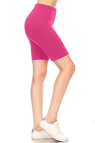 - Leggings Depot LBK128-FUCHSIA-M Biker Shorts, Medium