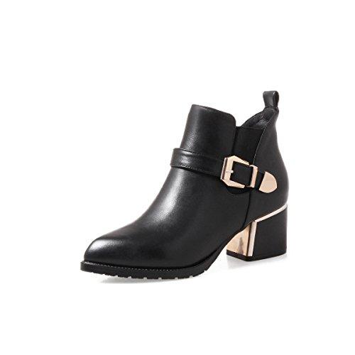 Chunky Urethane Black Heels Boots Pointed BalaMasa Womens Solid Toe Fxg7w5Yq