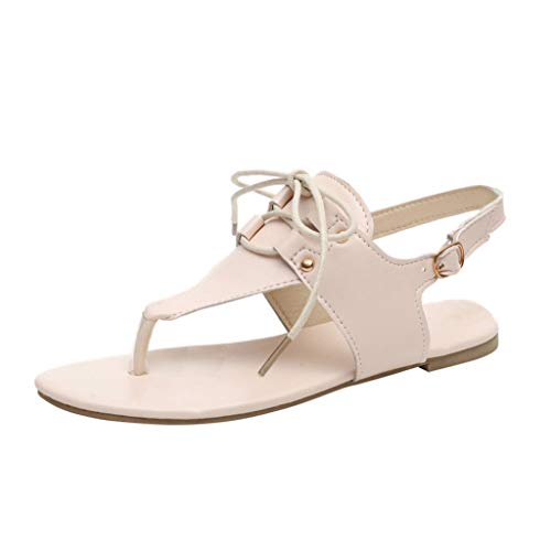 LUCA Women's Gladiator Sandals,Summer Toe Post Flat Buckle Beach Sandals Roman Shoes Beige