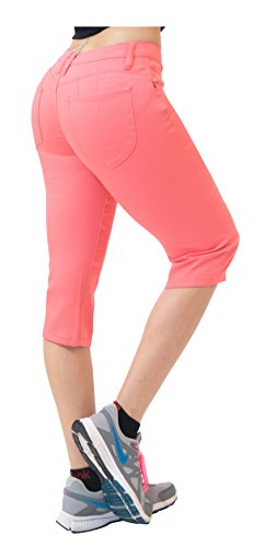 Hybrid & Co. Women's Butt Lift Super Comfy Stretch Denim Capri Jeans Coral ()