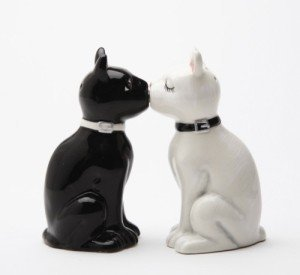 (Feline Spicey Black & White Cats Salt & Pepper Shaker Set S/P by Pacific Trading)