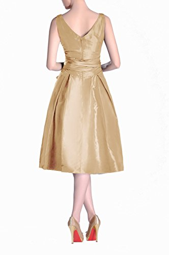 V line Pleated Modest Tea Taffeta Bridesmaid champagnerfarben neck Dress bridesmaids Length A Formal twYYI