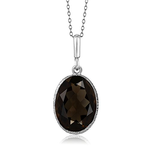 - Sterling Silver 5.00 Ct Smokey Quartz Gemstone 10X14MM Oval Pendant Necklace with 18