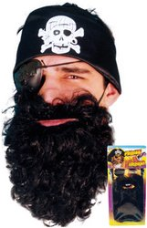 Deluxe Pirate Beard Costume Accessory - Black Beard Costumes