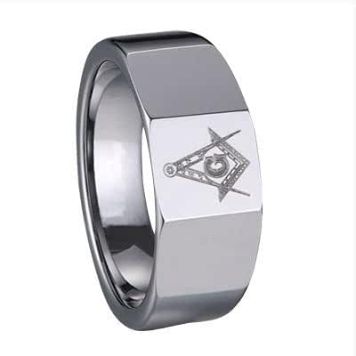 Masonic Ring in Tungsten with Compass & Scale by Cuff-Daddy