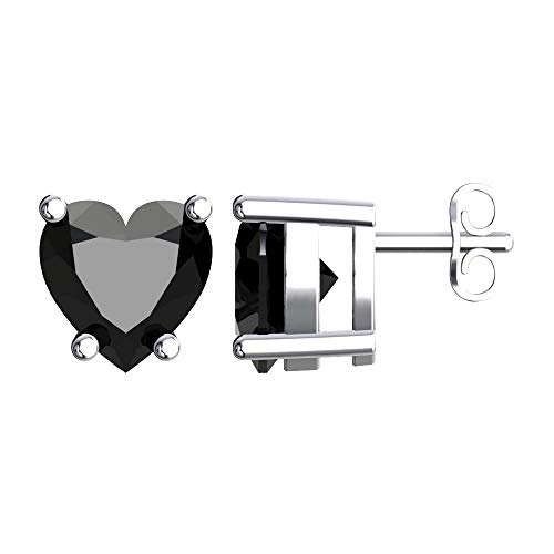- Solid Sterling Silver 5mm Heart Shaped Natural 0.9 CT Black Onyx Stud Earrings, High Polished Black Onyx Earrings with Push Backs