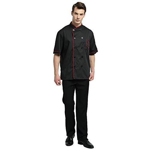 TopTie Unisex Short Sleeve Chef Coat Jacket, Black with Red by TopTie (Image #4)