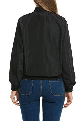 Corto Primaverile Baseball Elegante Women Donna Fashion Libero Schwarz Giacca College Ragazze Maniche Outwear Giacche Tempo Zip Pilot Jacket Giovane Lunghe Autunno 5I8gq1wx