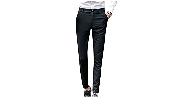 Godeyes Mens Solid High Waisted Bussiness Bussiness Relaxed-Fit Casual Pants