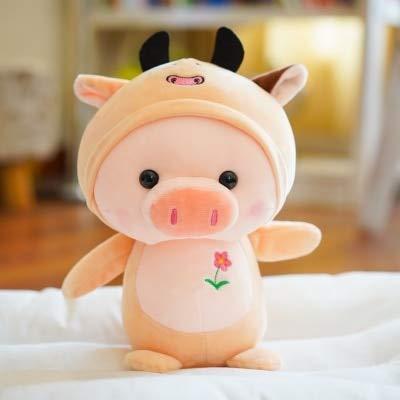 UBILILI Stuffed & Plush Animals - Super Cute Plush Toy Lovely Cartoon Pig Piggy Turn to Cattle Rabbit Elk Frog Mouse Soft Small Doll Birthday Gift 1p - Bank Toys Gifts Girls LOL Plushies Dolls