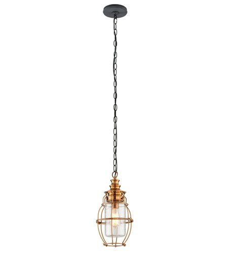 Outdoor Pendant 1 Light with Aged Brass with Forged Black Accents Finish Solid Brass Material Medium 16 inch Long 100 Watts