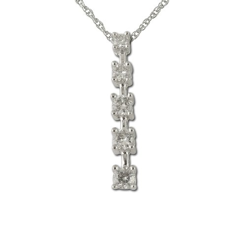 - TriJewels Round Diamond Journey Pendant 1/4 ctw 14K White Gold with 18 Inches 14K Gold Chain