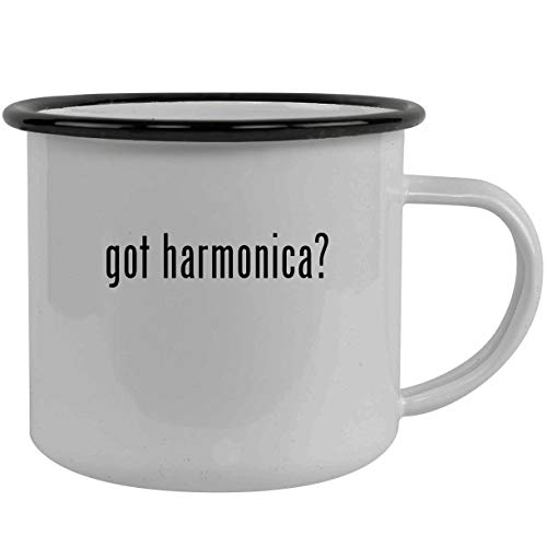 got harmonica? - Stainless Steel 12oz Camping Mug, Black (Hohner Piedmont Blues 7 Harmonica Pack With Case)