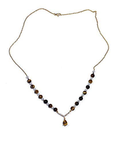 Natural Tiger's Eye Pendant Necklace. YG Over 925 Sterling Silver Pendant and Chain. 2 mm Stone Beads.Crystal Accents. Root and Sacral Chakra Balance.