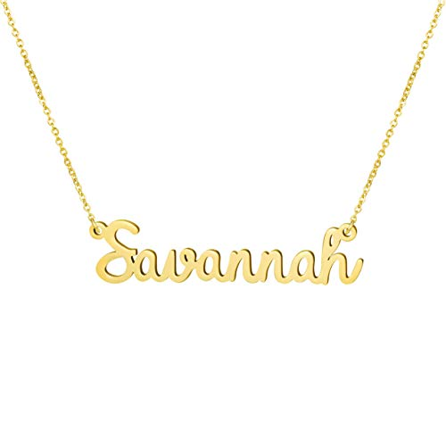 Yiyang Personalized Name Necklace 18K Gold Plated Stainless Steel Pendant Jewelry Birthday Gift for Girls (Savannah)