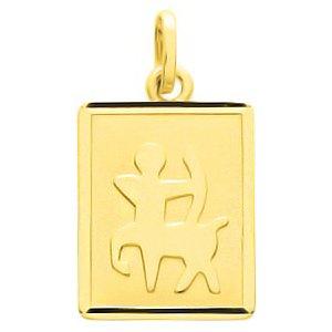 So Chic Bijoux © Pendentif Zodiaque Plaque Rectangulaire Signe Astrologique Sagittaire Or Jaune 750/000 (18 carats)