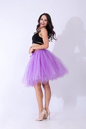 Babyonline Tüllrock Damen Tütü Petticoat Retro-Faltenrock Violett Hell A30dFPpboM