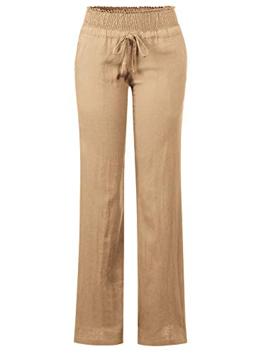 Design by Olivia Women's Comfy Drawstring Elastic Waist Linen Pants with Pocket (S-3XL) Taupe M