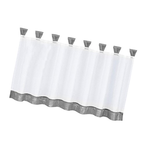 (Fityle Grommet Top Tailored Tier Half Curtain Window Voile Sheer Cafe Curtains Valance - Versatile Size for Choice - Grey, 2 47x18 Inch)