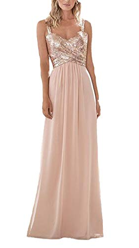 Firose Women's Sequined Sweetheart Backless Long Chiffon Prom Bridesmaid Dresses Rose Gold US18W ()