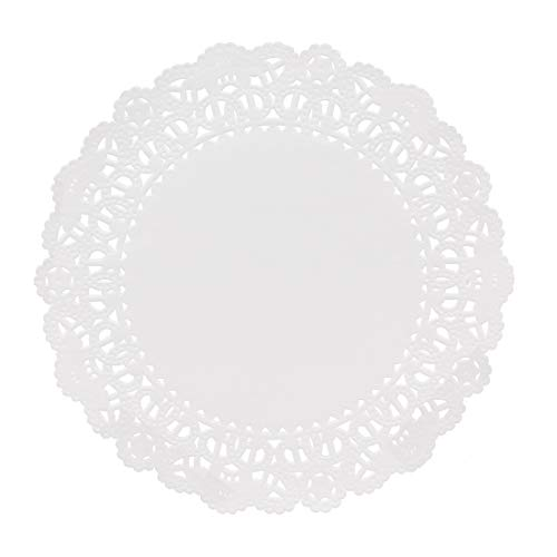 "Hygloss Products Round Paper Doilies - Decorative, White Lace Doilies, Disposable, 6"" Diameter, 100 Pack"