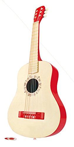 Hape-Vibrant-Guitar-Kids-Toddler-Wooden-Musical-Instrument-in-Red