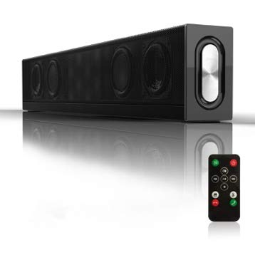 20W HiFi Bass Soundbar (2019), Portable 3D Surround Sound Wired & Wireless Bluetooth Speaker with 4500mah, Mini Sound bar Home Theater with Subwoofer, 4 Drivers (Dual 52mm Speakers+Dual 55mm diaphragm