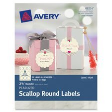 Avery 8214 Pearlized Scallop Round Labels 2-1/2