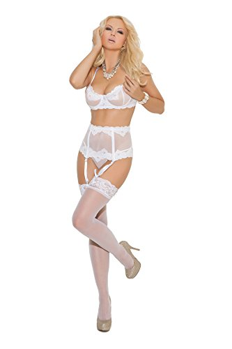 Elegant Moments Women's Embroidered Mesh Underwire Bra Waist Cincher and Matching G-String Included, White, 38 by Elegant Moments
