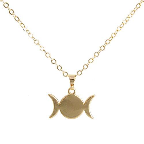 SENFAI Triple Moon Goddess Symbol Pendant Necklace 18