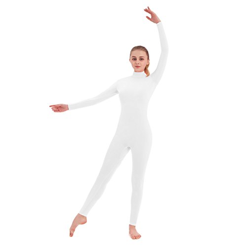 SUPRNOWA Unisex Turtleneck Footless Lycra Spandex Long Sleeve Unitard (Medium, White) (Footless Unitard)