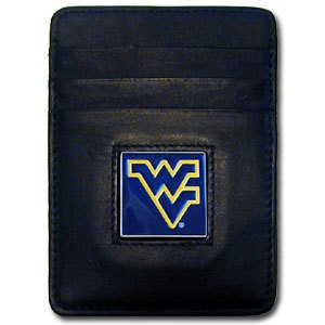 NCAA West Virginia Mountaineers Leather Money Clip/Cardholder (West Virginia Clip Paper Holder)