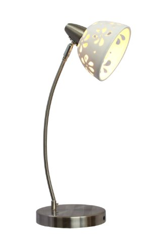 (Simple Designs Home LD1000-WHT Simple Designs White Porcelain Flower Desk Lamp, 79