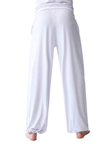 Pajama Trousers (Rainbow Cloud Men's Modal Loose Harem Yoga Pants Bloomers Knickerbockers Cosy Sports Pants Pyjama Trousers (US-S, White))