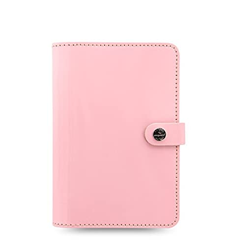 Filofax The Original Personal Size Leather Organizer Agenda Ring Binder Calendar with DiLoro Jot Pad Refill Patent Rose 022595