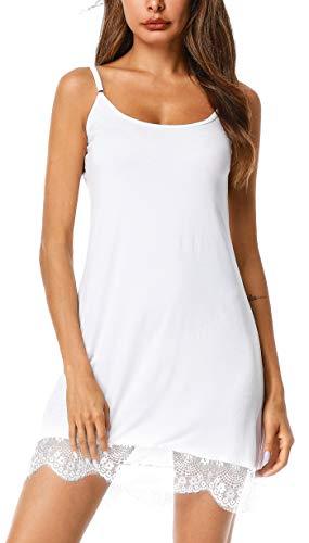 (UUANG Women's Sleep Chemise Scoop Neck Full Slip Nightgown Nightwear (White,XXL))
